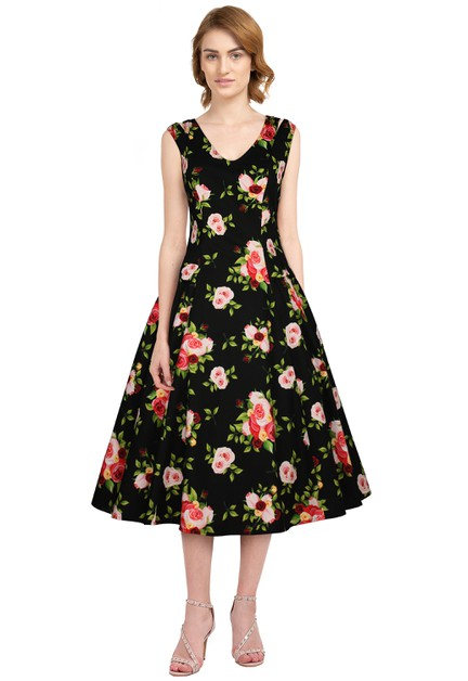 Plus Size Black/Floral Retro Dress - orangeshine.com