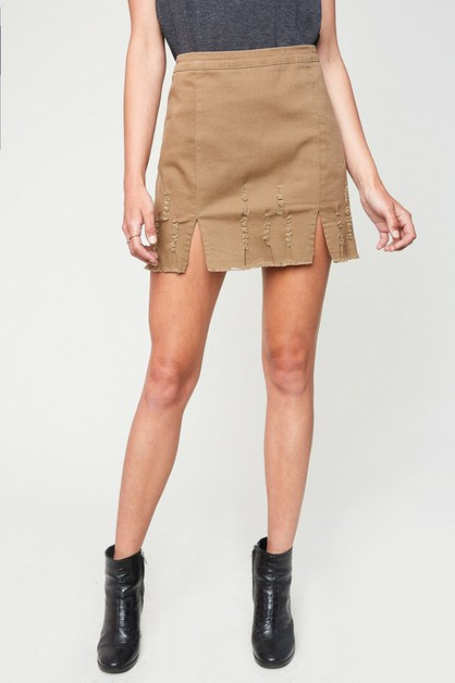 Distressed Hem Skirt - orangeshine.com