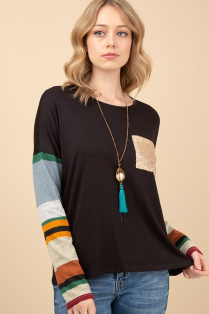 SOLID TOP WITH MULTI COLOR STRIPED  - orangeshine.com