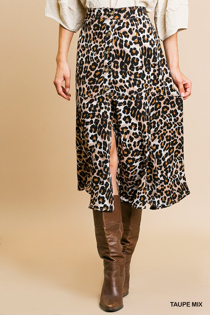 Animal Print High Waisted Midi Skirt - orangeshine.com