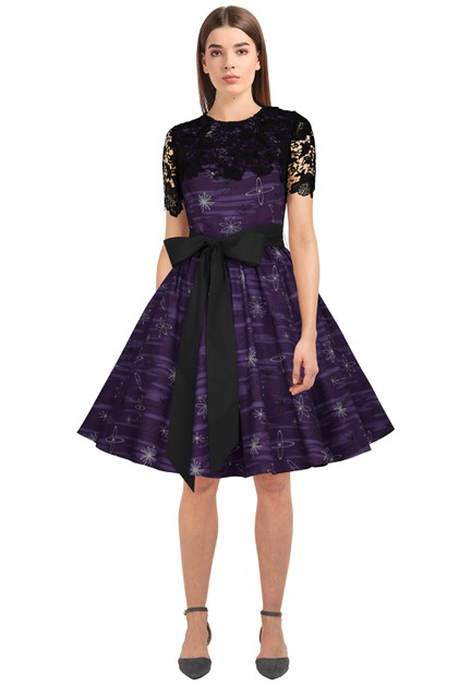 Plus Size Purple/Print Lace Retro Dress - orangeshine.com