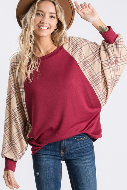 PLAID CONTRAST DOLMAN TOP  - orangeshine.com
