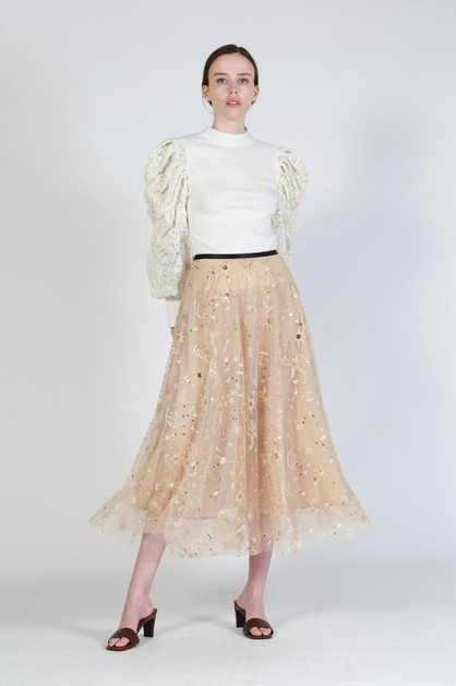 Embroidered Midi Length Mesh Skirt - orangeshine.com