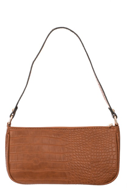 Rectangle Faux Gator Skin Bag - orangeshine.com