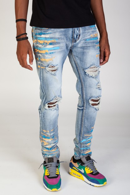 RIPPED MULTI PAINT SPLATTER JEANS - orangeshine.com
