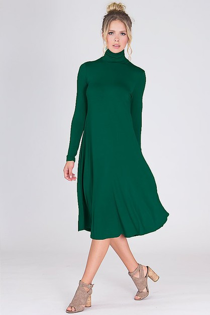 Turtle Neck Midi Dress - orangeshine.com