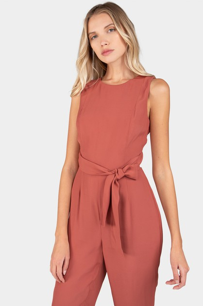 SLEEVELESS BACK TIE JUMPSUIT - orangeshine.com
