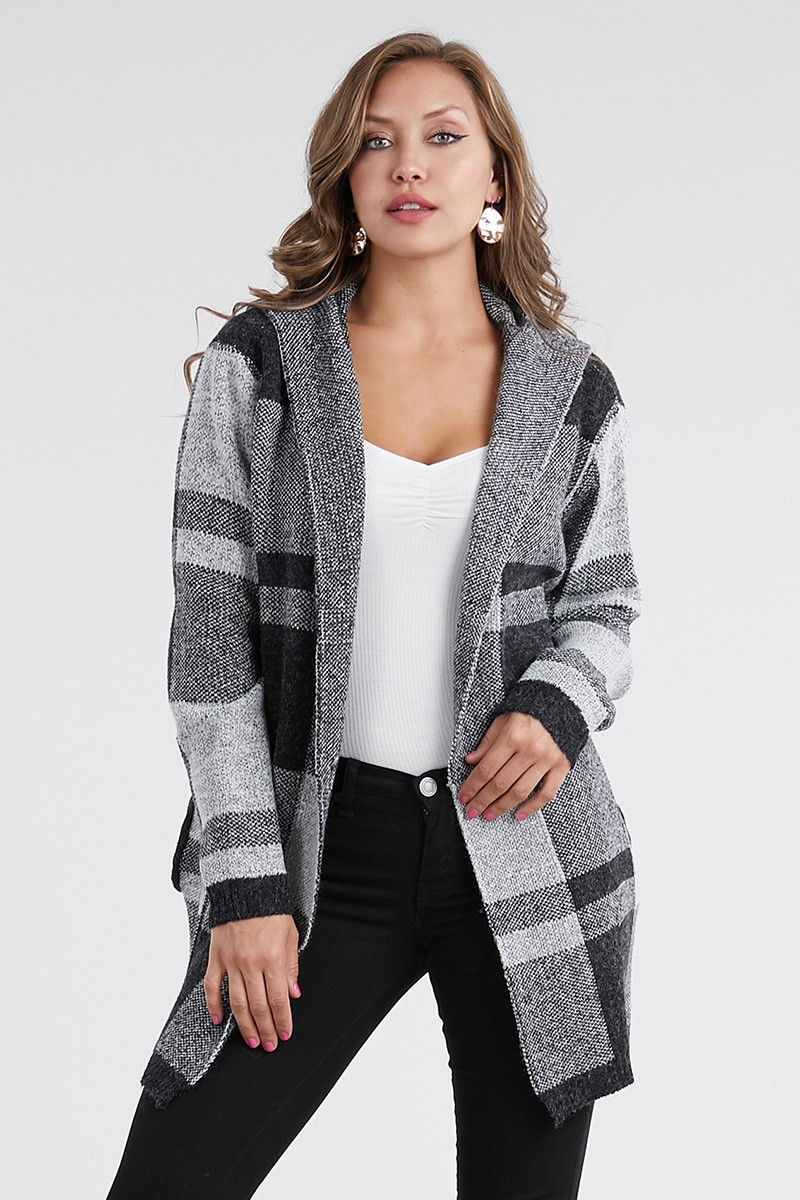 Hooded Checker Open Front Cardigan  - orangeshine.com