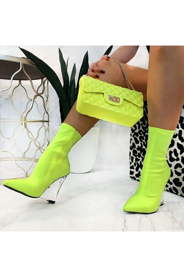 Pointed Toe Block heel booties - orangeshine.com
