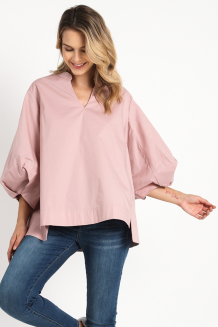 POPLIN TOP WITH PLEATED BUBBLE SLEEV - orangeshine.com