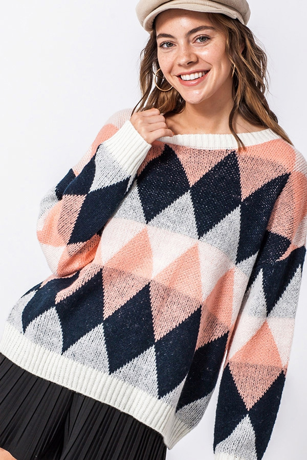 ARGYLE PULLOVER SWEATER - orangeshine.com