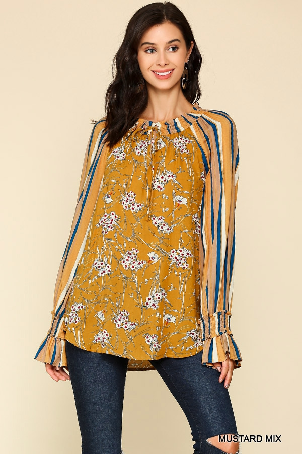 Mixed Print Peasant Top  - orangeshine.com