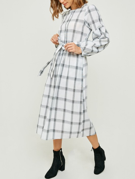 Plaid Button-Down Midi Dress - orangeshine.com