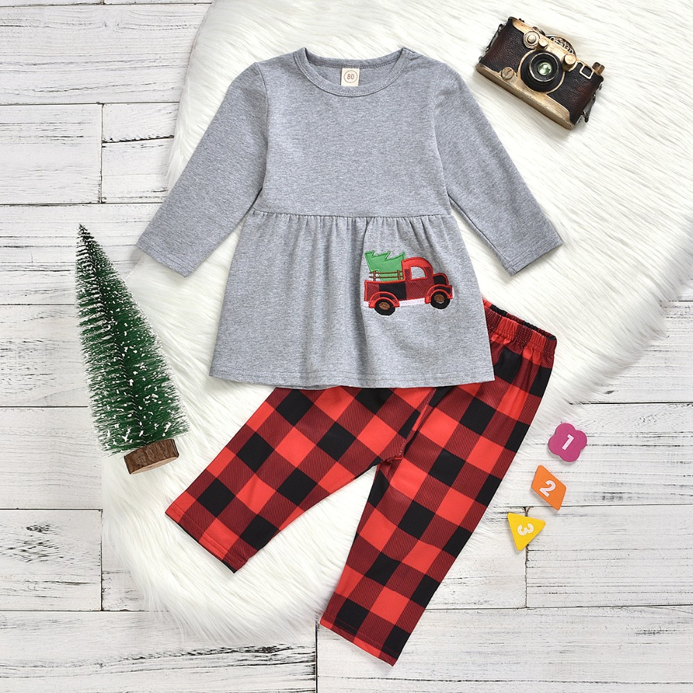 Christmas Tree top plaid pant  set  - orangeshine.com