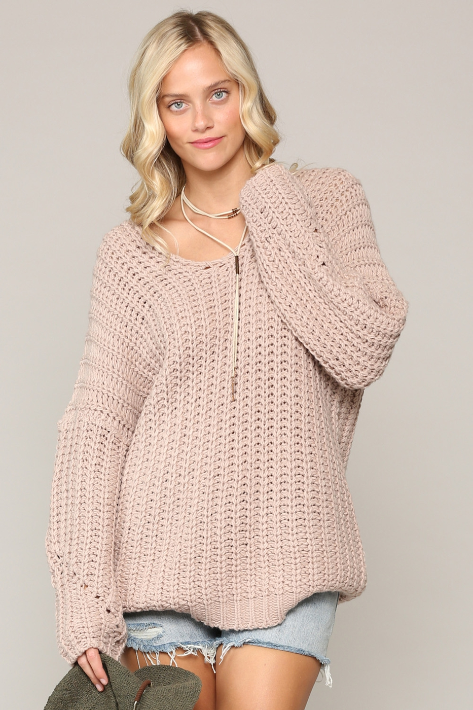 OVERSIZED DEEP V-NECK SWEATER - orangeshine.com