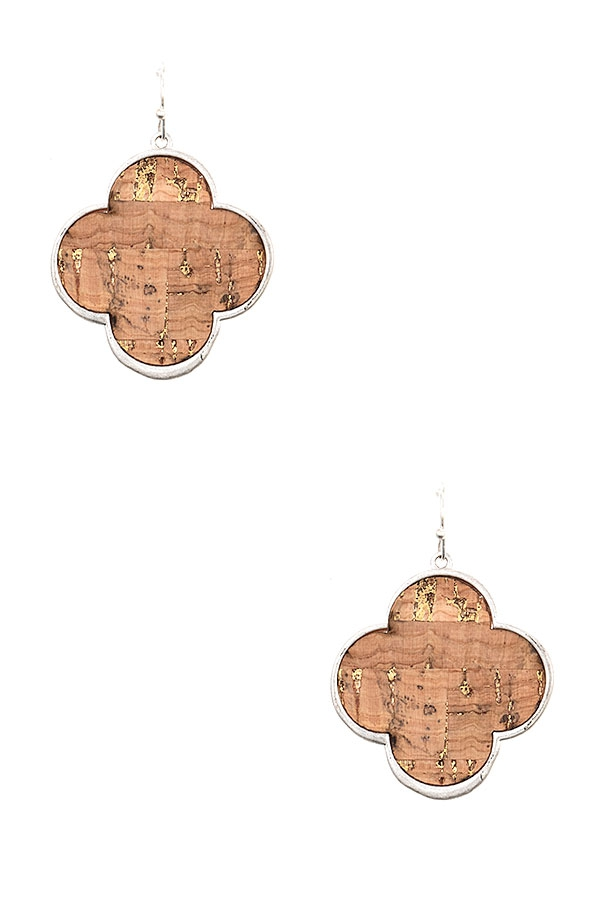 CLOVER CORK FRAMED EARRING - orangeshine.com