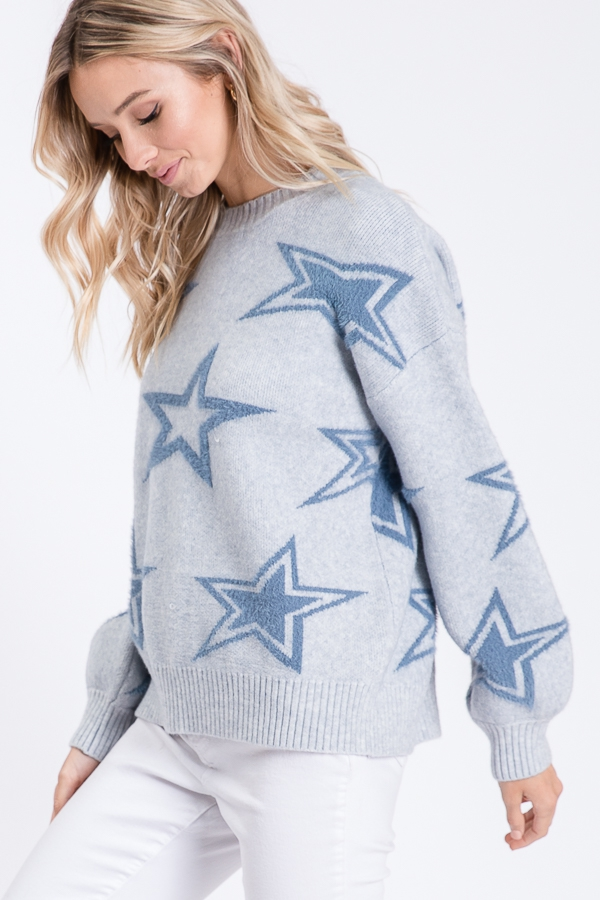 STAR PRINT LONG SLEEVES SWEATER  - orangeshine.com