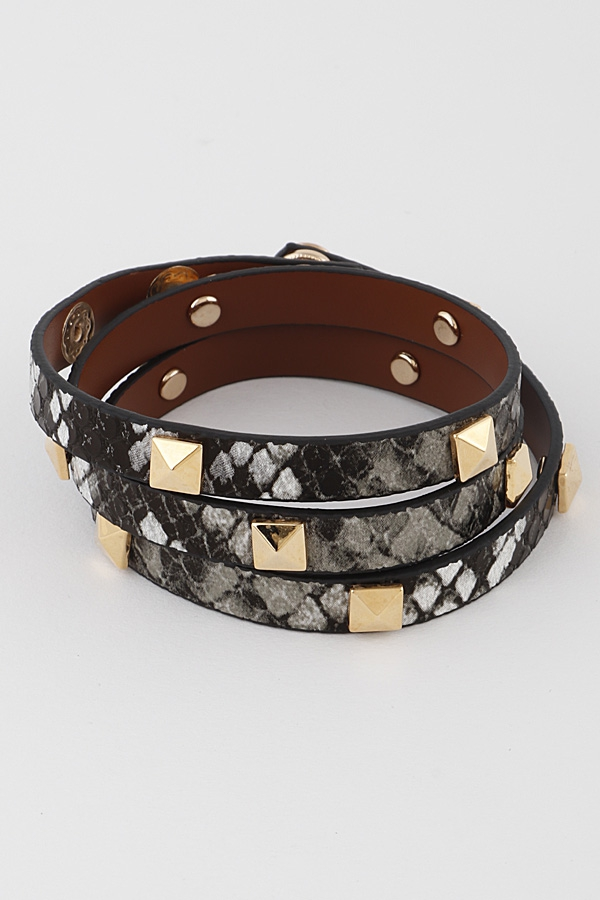 Studded Animal Print Bracelet - orangeshine.com