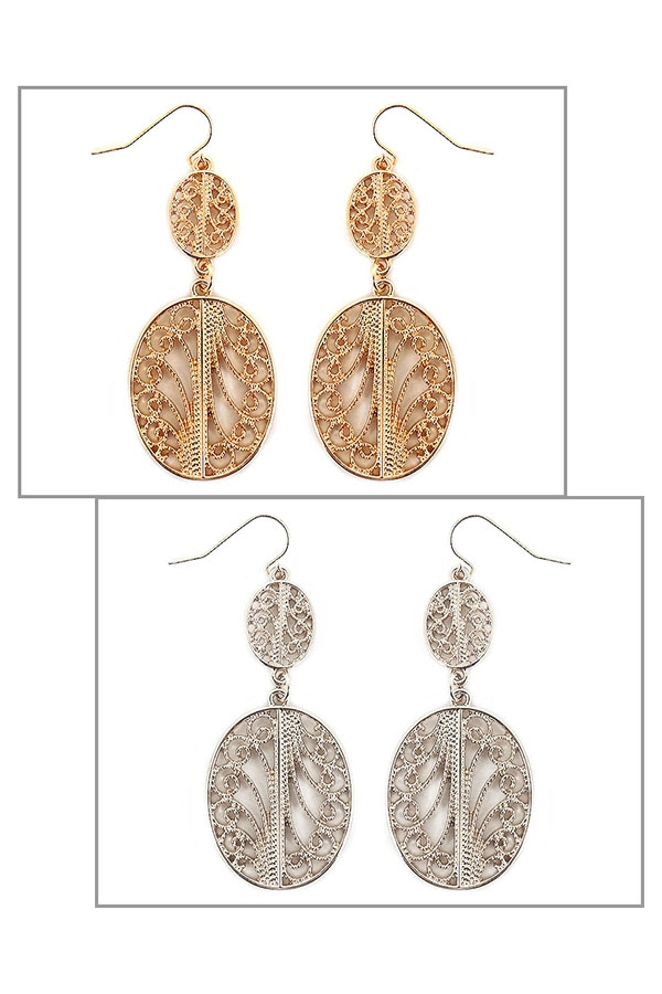OVAL FILIGREE DROP EARRINGS - orangeshine.com