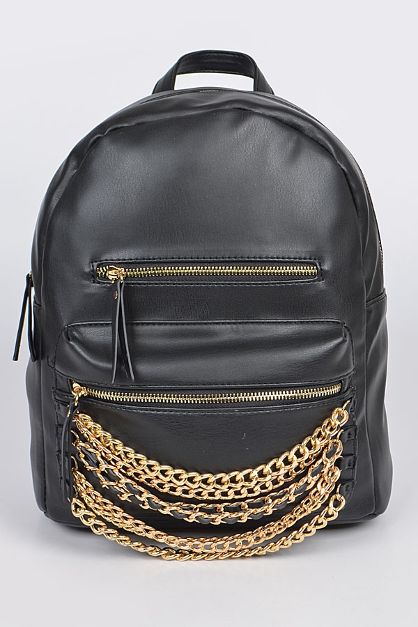 Chain Detail Leather Backpack - orangeshine.com