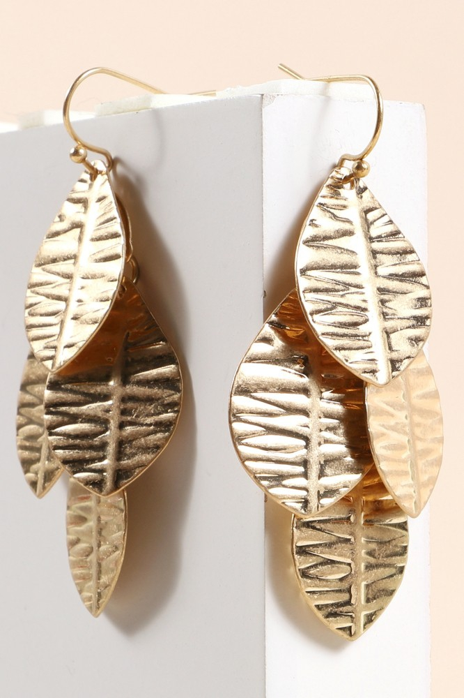 Metal Leaf Dangling Earrings - orangeshine.com
