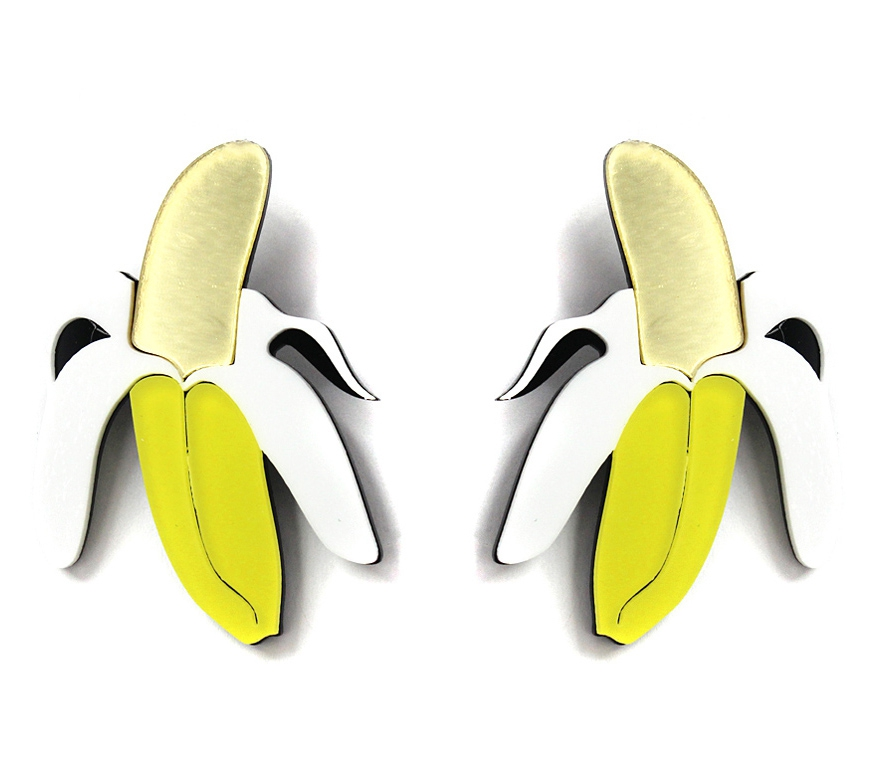 ACRYLIC BANANA DROP POST EARRINGS - orangeshine.com