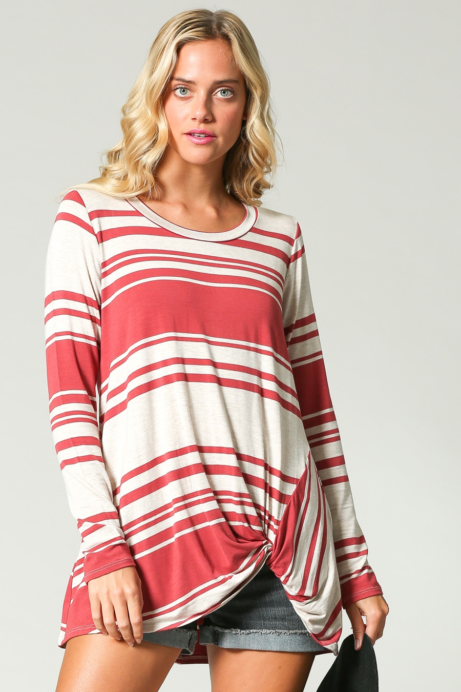 LONG SLEEVE STRIPED TWIST HEM TOP - orangeshine.com