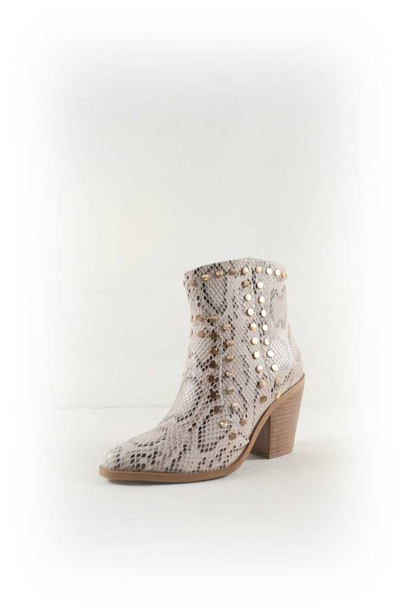 SNAKE BUTTON ACCENT COWBOY BOOTIES - orangeshine.com