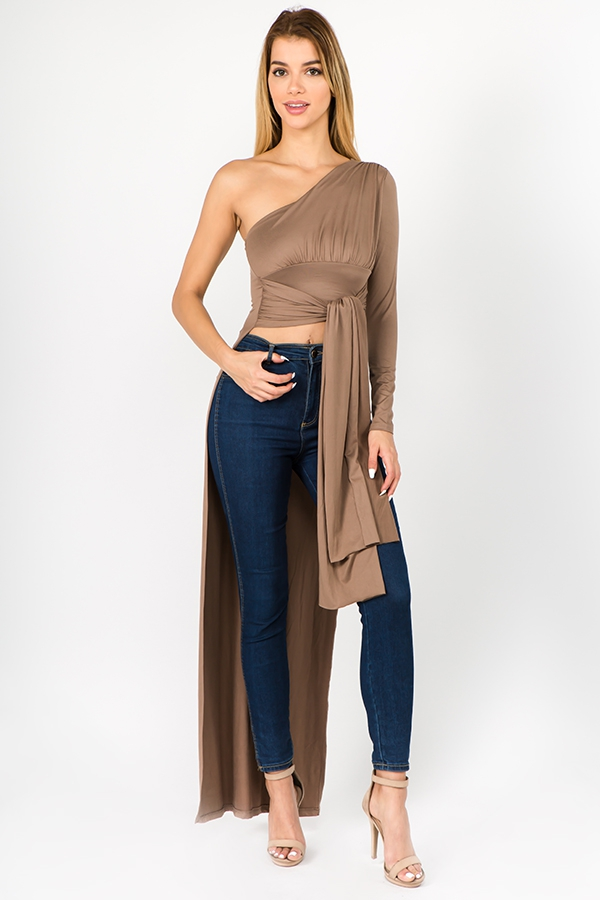 ONE SHOULDER LONG LENGTH TOP - orangeshine.com