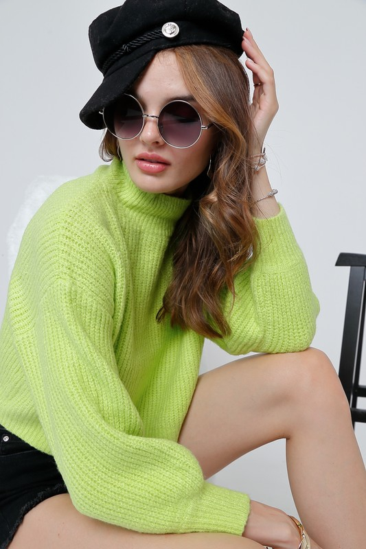 Solid mock neck long puff sleeve swe - orangeshine.com