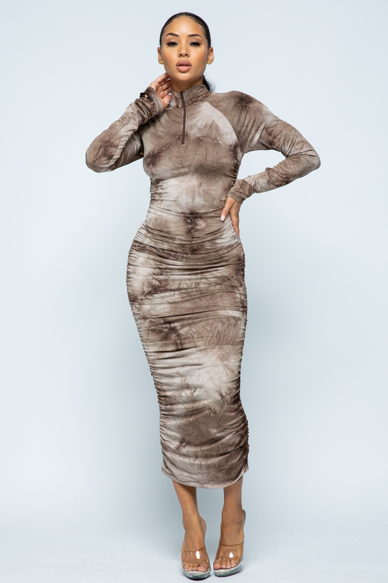Tie Dye Bodycon Long Dress - orangeshine.com