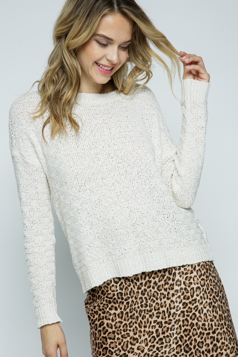 LIGHT KNIT TEXTURED PULLOVER SWEATER - orangeshine.com