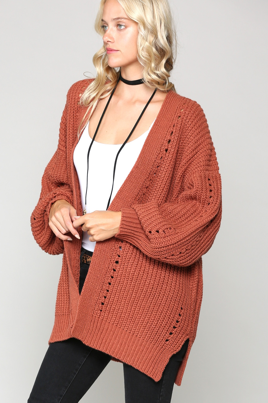 KNIT CHUNKY CARDI SWEATER - orangeshine.com