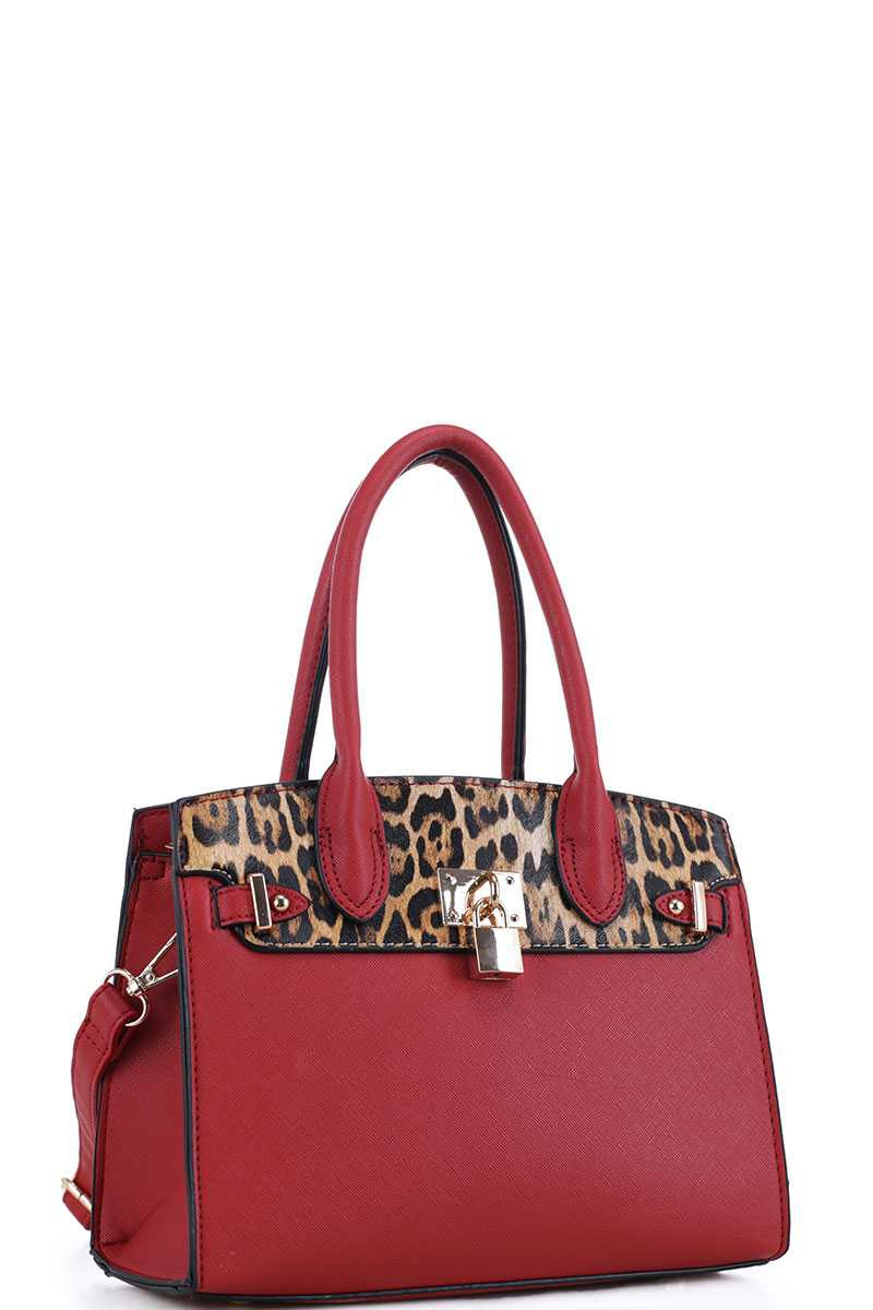LEOPARD SATCHEL W TOP HANDLE W STRAP - orangeshine.com