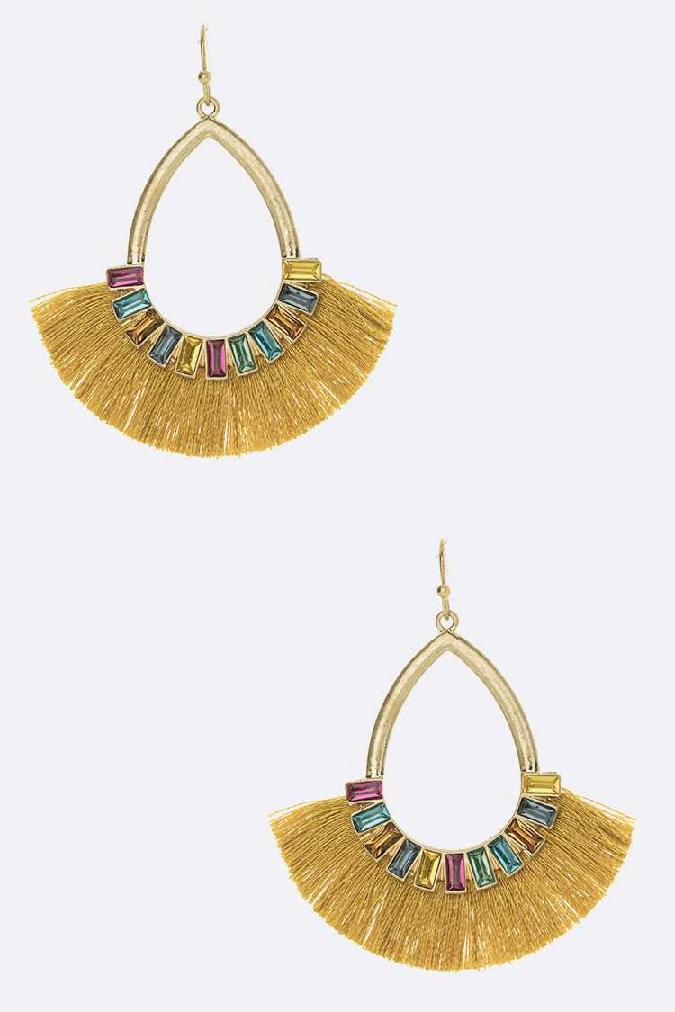Crystal Baguette Tassel Earrings - orangeshine.com