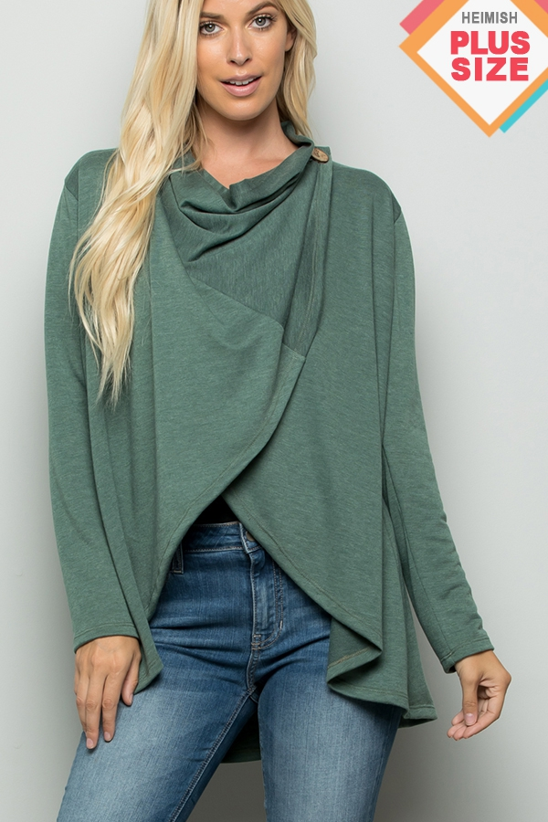 PLUS SOLID DRAPED CARDIGAN - orangeshine.com