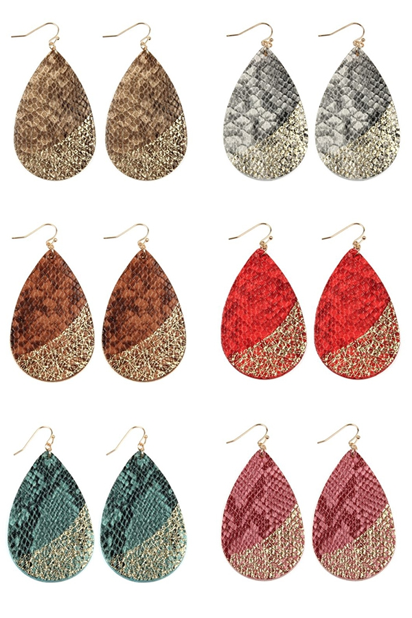 SNAKESKIN FISH HOOK TEARDROP EARRING - orangeshine.com