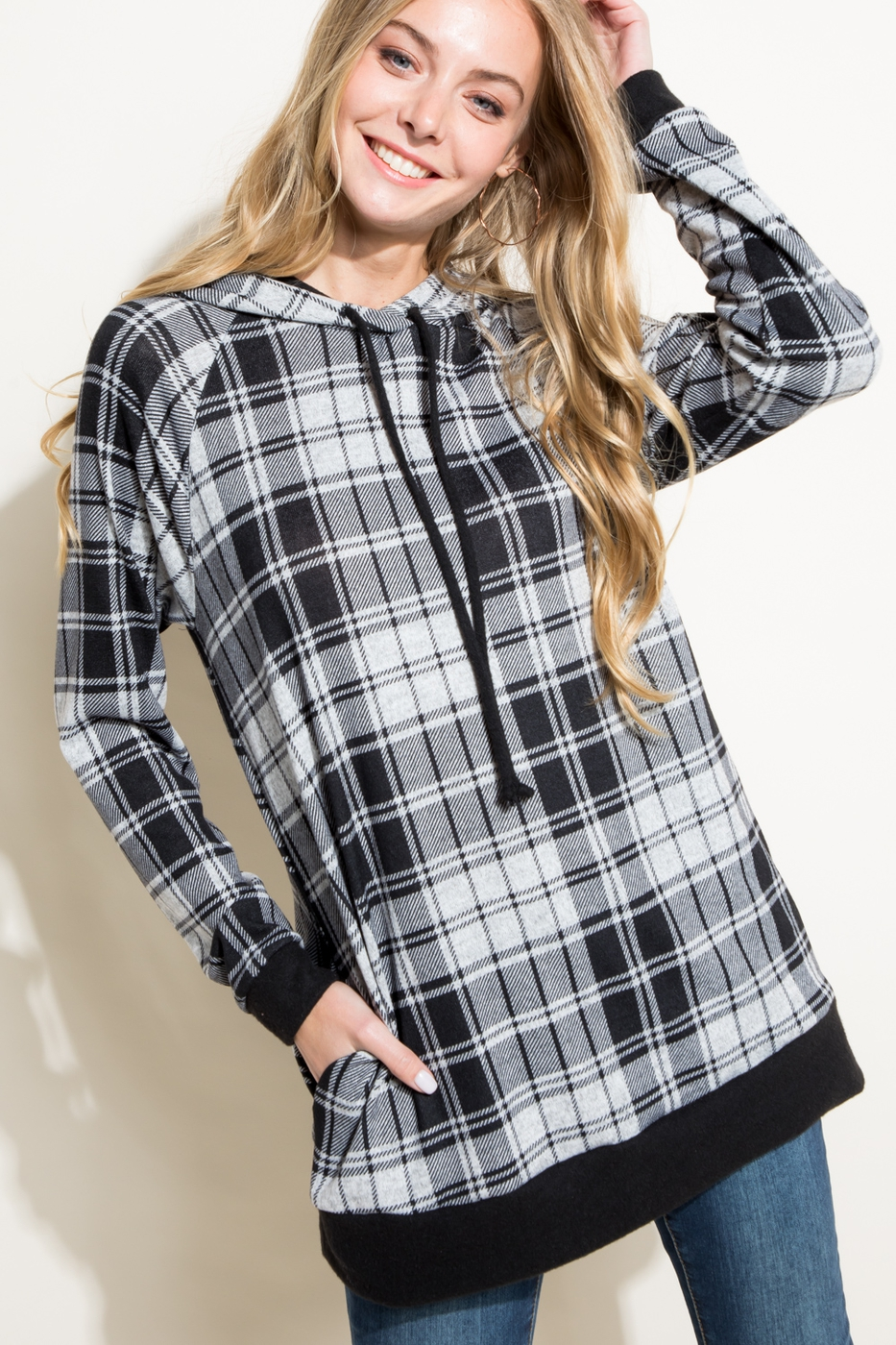 PLAID AND SOLID MIXED HOODIE TOP - orangeshine.com