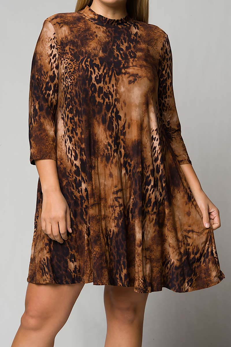 MOCK NECK ANIMAL PRINT SWING DRESS  - orangeshine.com