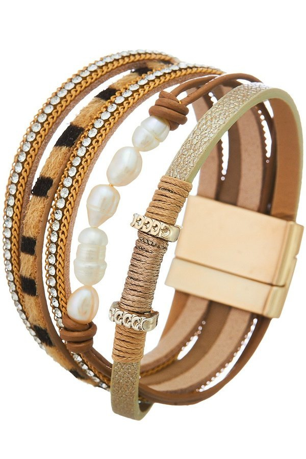 Layered mix media leather bracelet - orangeshine.com