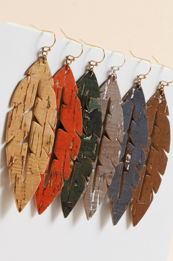 Cut Out Leaf Cork Dangling Earrings - orangeshine.com