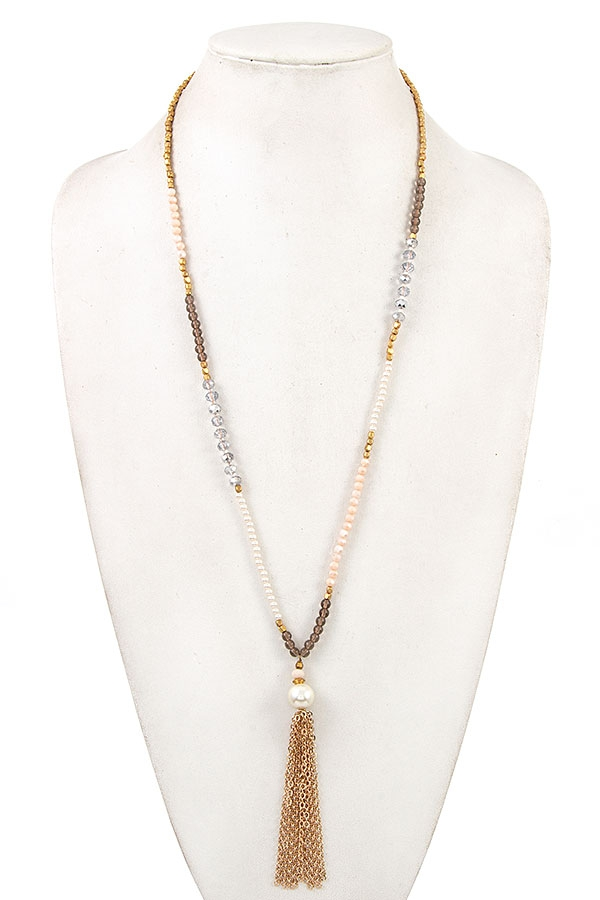 MIX BEAD CHAIN TASSEL LONG NECKLACE  - orangeshine.com