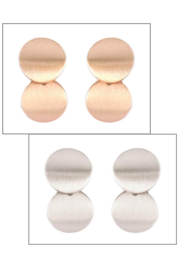 SATIN ROUND DROP POST EARRINGS - orangeshine.com