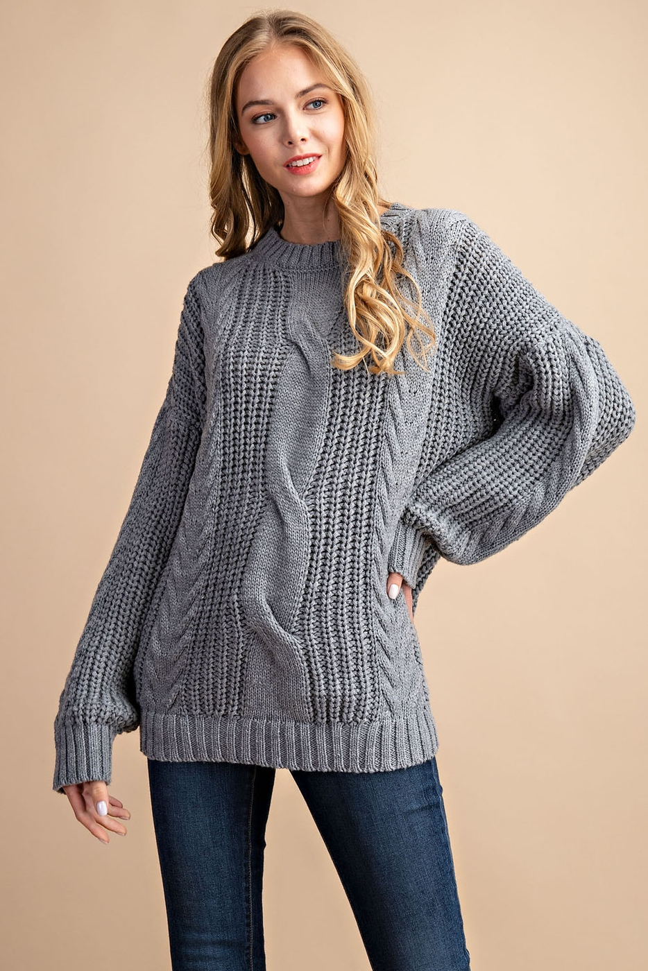 CABLE KNIT SWEATER TOP - orangeshine.com