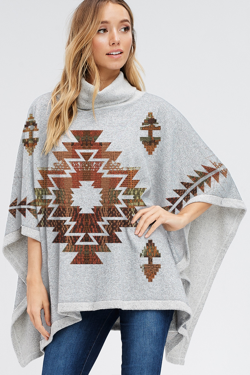 Aztec poncho Turtle neck top - orangeshine.com