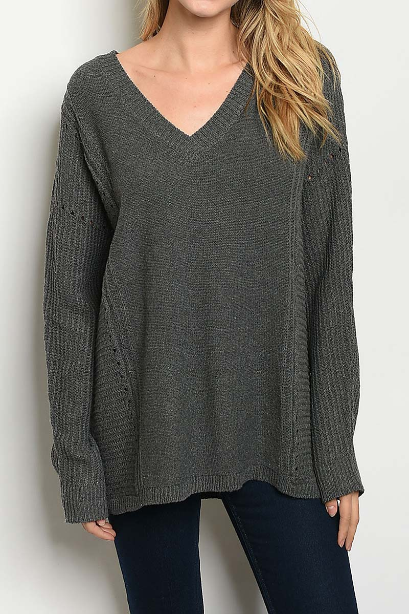 RIBBED DETAIL V NECK LOOSE FIT SWEAT - orangeshine.com