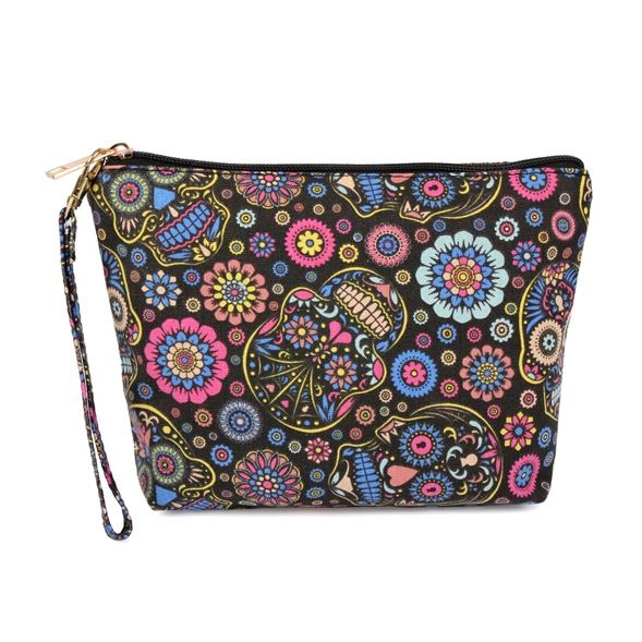 SKULL ART PRINT COSMETIC BAG - orangeshine.com