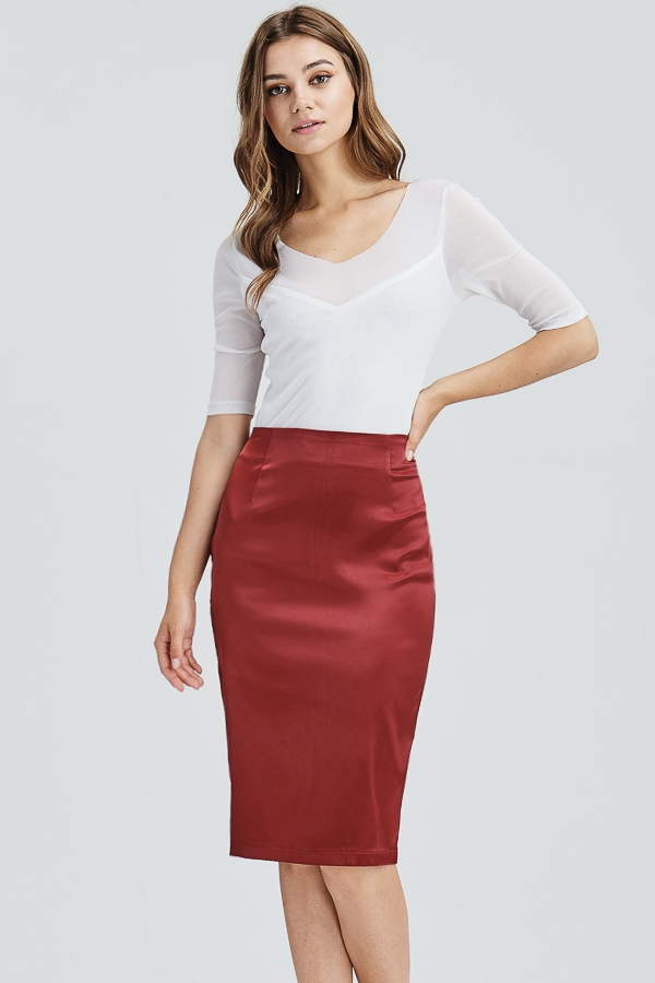 Matte Metallic Pencil skirt  - orangeshine.com