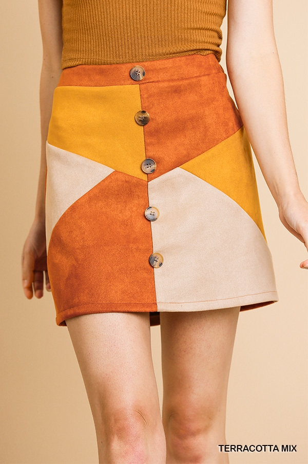 Suede High Waist Colorblocked Skirt - orangeshine.com