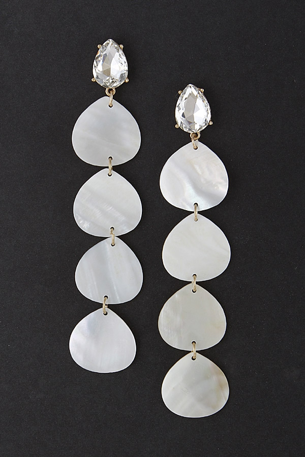 Thin Pearl Sheet Drop Earrings - orangeshine.com